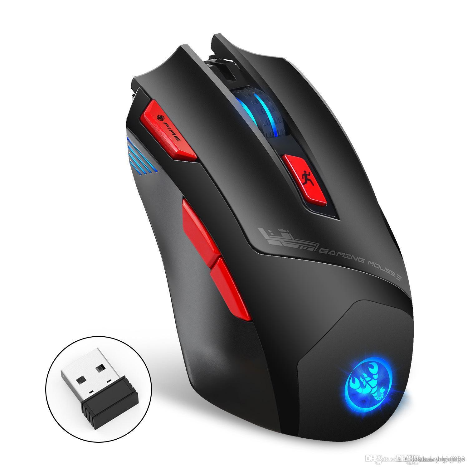 Wireless Gaming Mouse 2.4GHz Mouse Ergonomic Design Mice Adjustable 4800DPI USB Rechargeable Mouse Laptop miceinputs