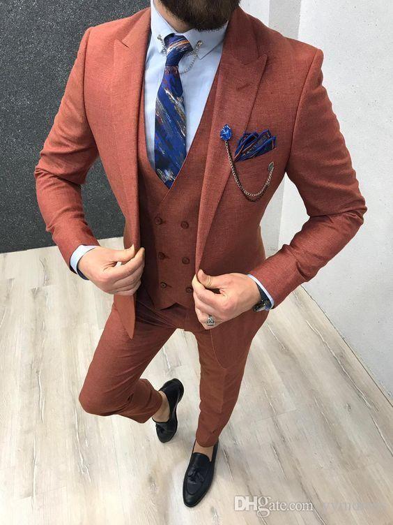 2019 Yaz Damat smokin Groomsmen Tepe Yaka Yün Sağdıç Blazer Erkek Düğün Suit (Ceket + Pantolon + Kravat + Yelek)