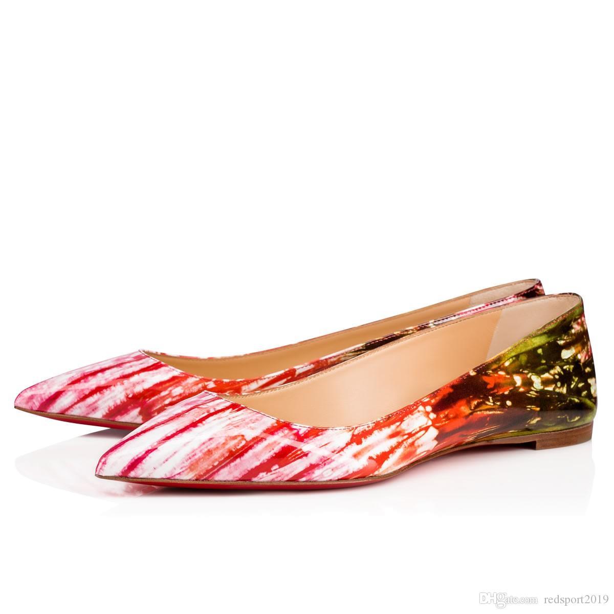 Canlı Stil Ballalla 000 Patent Ayakkabı Baskı Kırmızı Alt Bayanlar Patent Deri Seksi Sivri Burun Kadın Ballerines Ayakkabı EU35-42