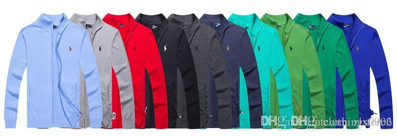 Otoño / invierno diseñador nueva cremallera estilo del soporte suéter del algodón del collar de la manera ocasional clásica larga de la manga de los hombres de punto bordado capa 1