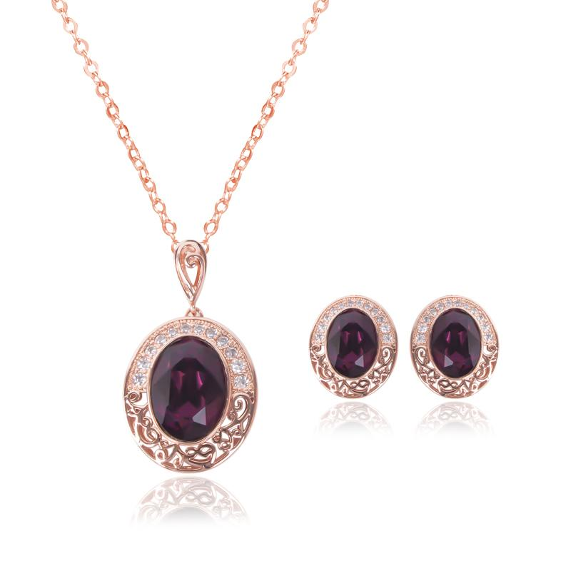 Earrings Necklace Bridal Wedding Jewelry Royal Fashion Luxury Women Rhinestone 18K Gold Plated Hollow Out Oval Party Jewelry 2-Piece Set