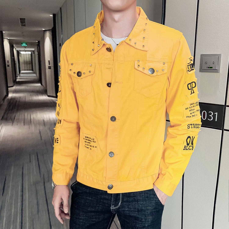 IDTCy zkWFv 2019 Primavera para rebite-coreano estilo outono personalizado dos homens denim e social 2019 Primavera e no Outono ja jaqueta jeans personalizado
