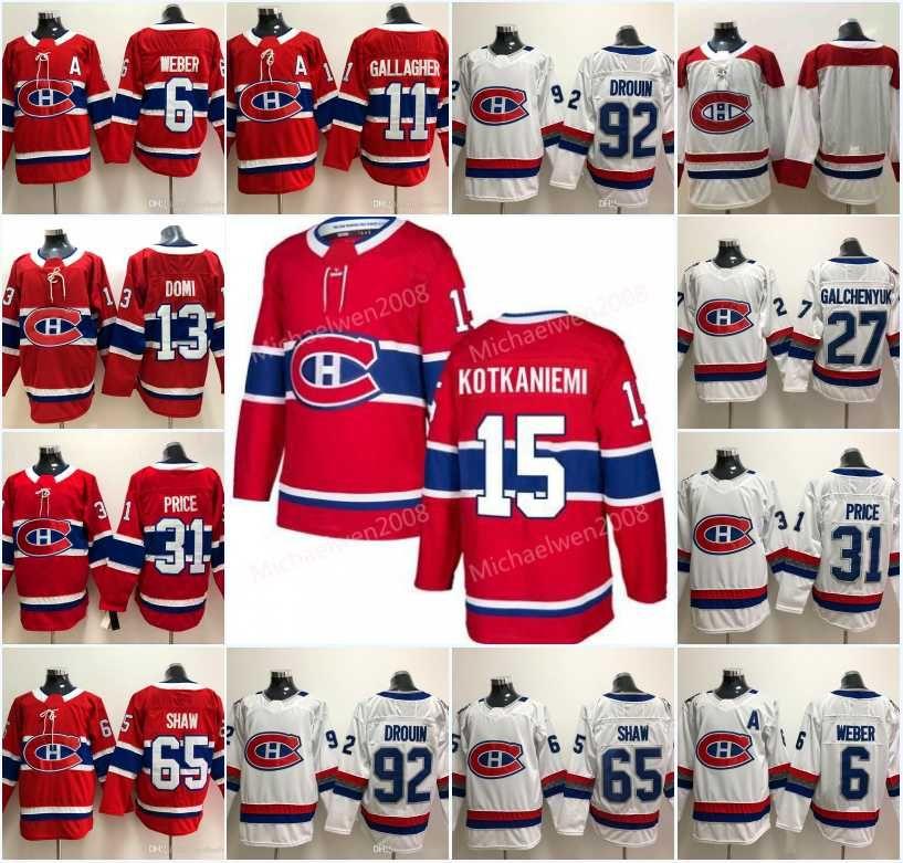 15 Jesperi Kotkaniemi 남자 몬트리올 Canadiens 13 Max Domi Shea Weber 브렌든 갤러거 칼 알즈 너 캐리 프라이스 쇼 도루 인 하키 유니폼