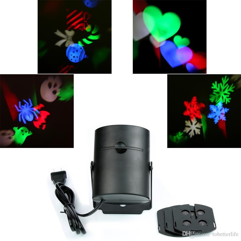Indoor LED multicolore della luce laser rgb Proiezione a LED per le vacanze in movimento di Pentecoste 4PCS commutabile modello decorazione festa di Natale di Halloween