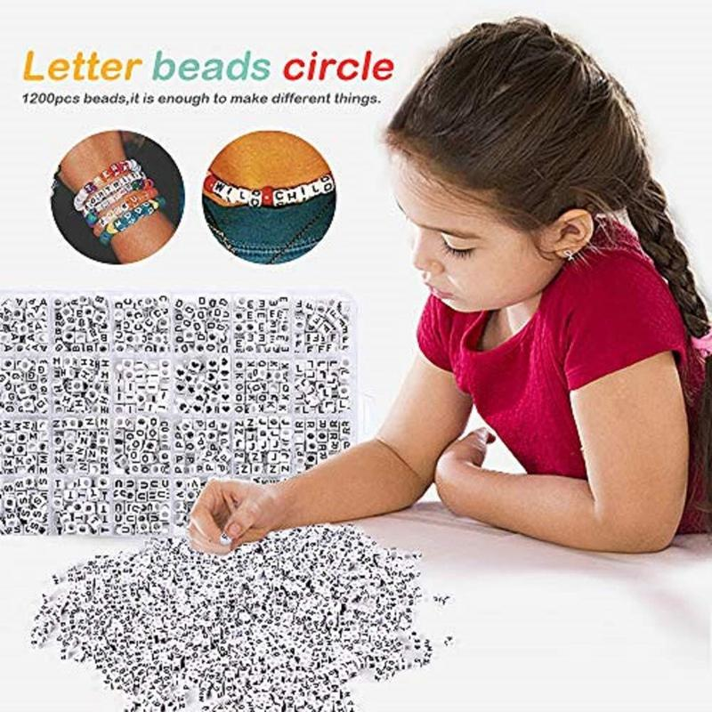 1200Pcs Acrylic Mixed Letter and Number Beads Circle Round Individual Letter Alphabet Beads for DIY Bracelet Jewelry Making