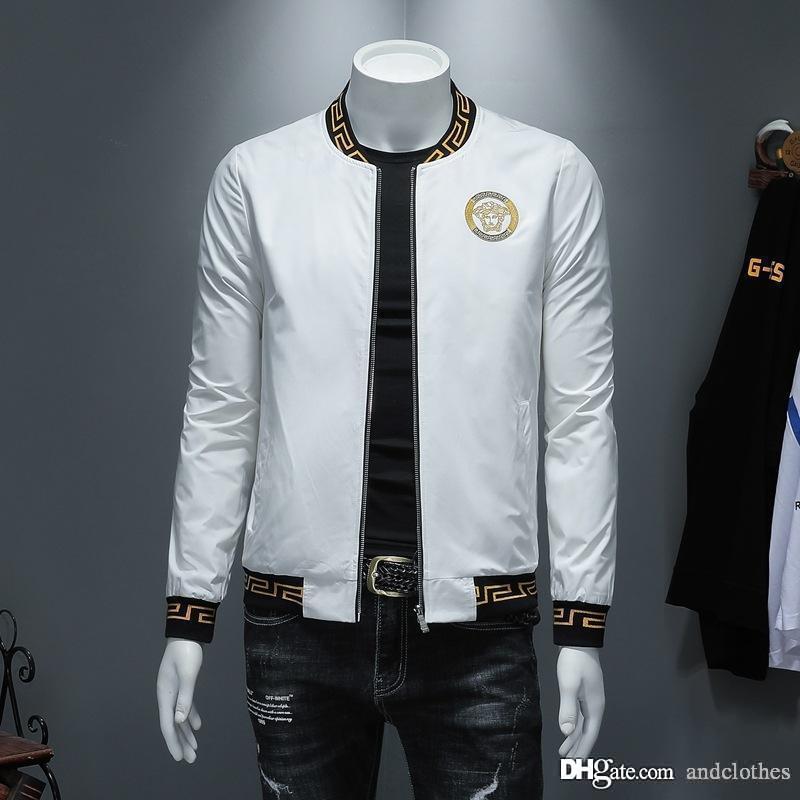 jaqueta de europeus e americanos designer de moda mens jaqueta casual tecido blusão de designer de gola alta dos homens da moda