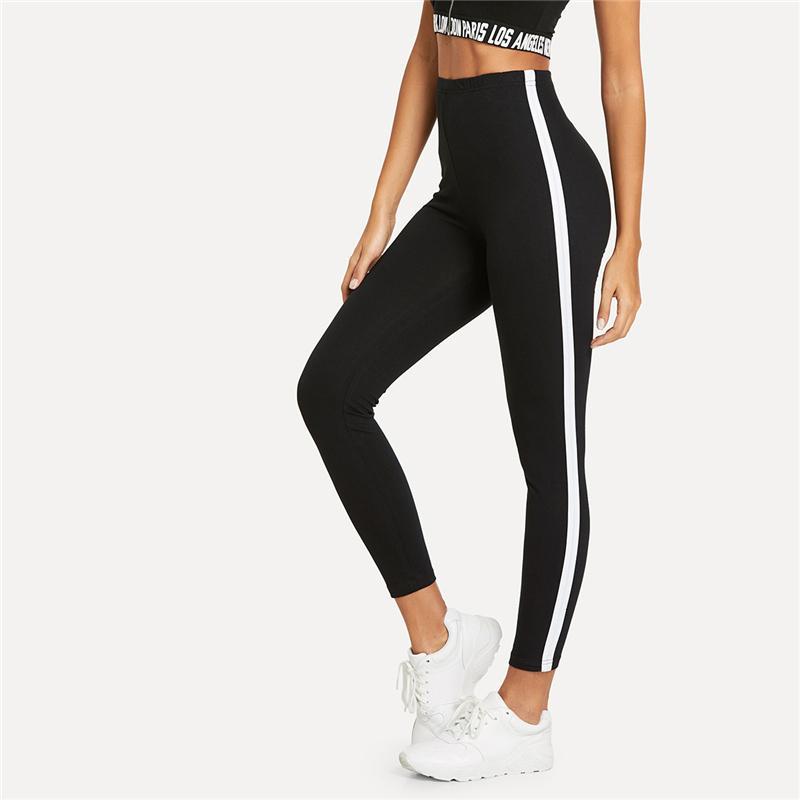 Gamaschen für Frauen-Schwarz-Fitness gestreiften Band Side High Taillengamaschen neuen beiläufigen Workout-Herbst-Frauen-dünner Hosen und Tief