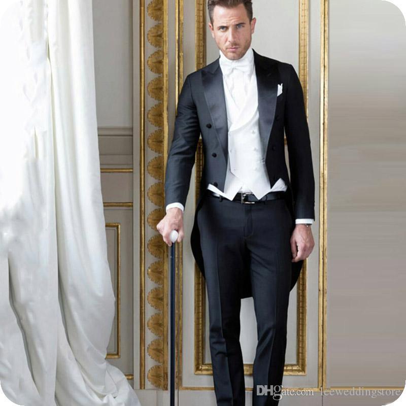 Preto Tailcoat Homens ternos do noivo smoking de casamento desgaste formal do partido Manhã casaco longo 3pieces Costume Vintage Homme italiana Terno Masculino