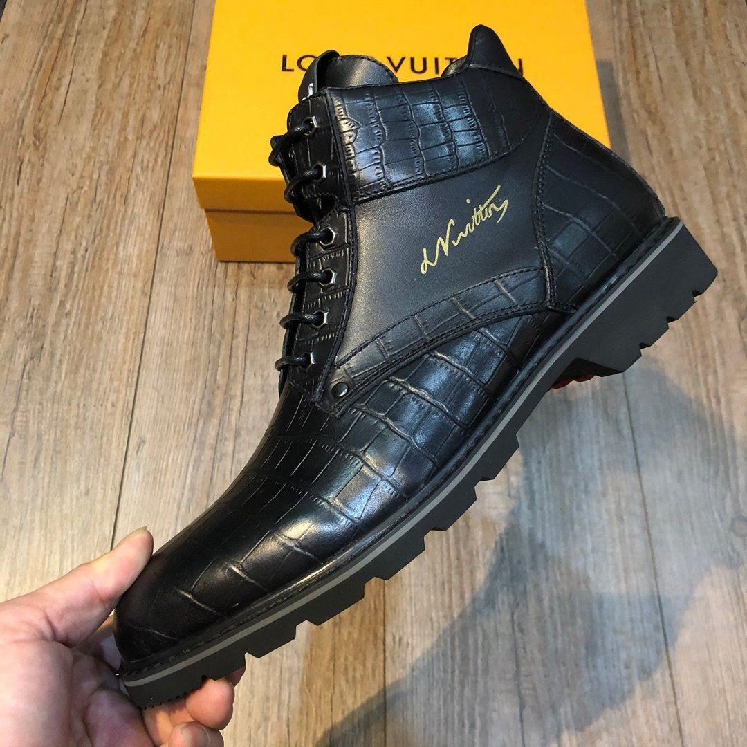 Louis vuitton C5 Hochwertiger schwarze Art und Weise beiläufige Männer Schuhe Herbst und Winter Luxus Leder Herrenschuhe original Box-Verpackung Zapatos Hombre