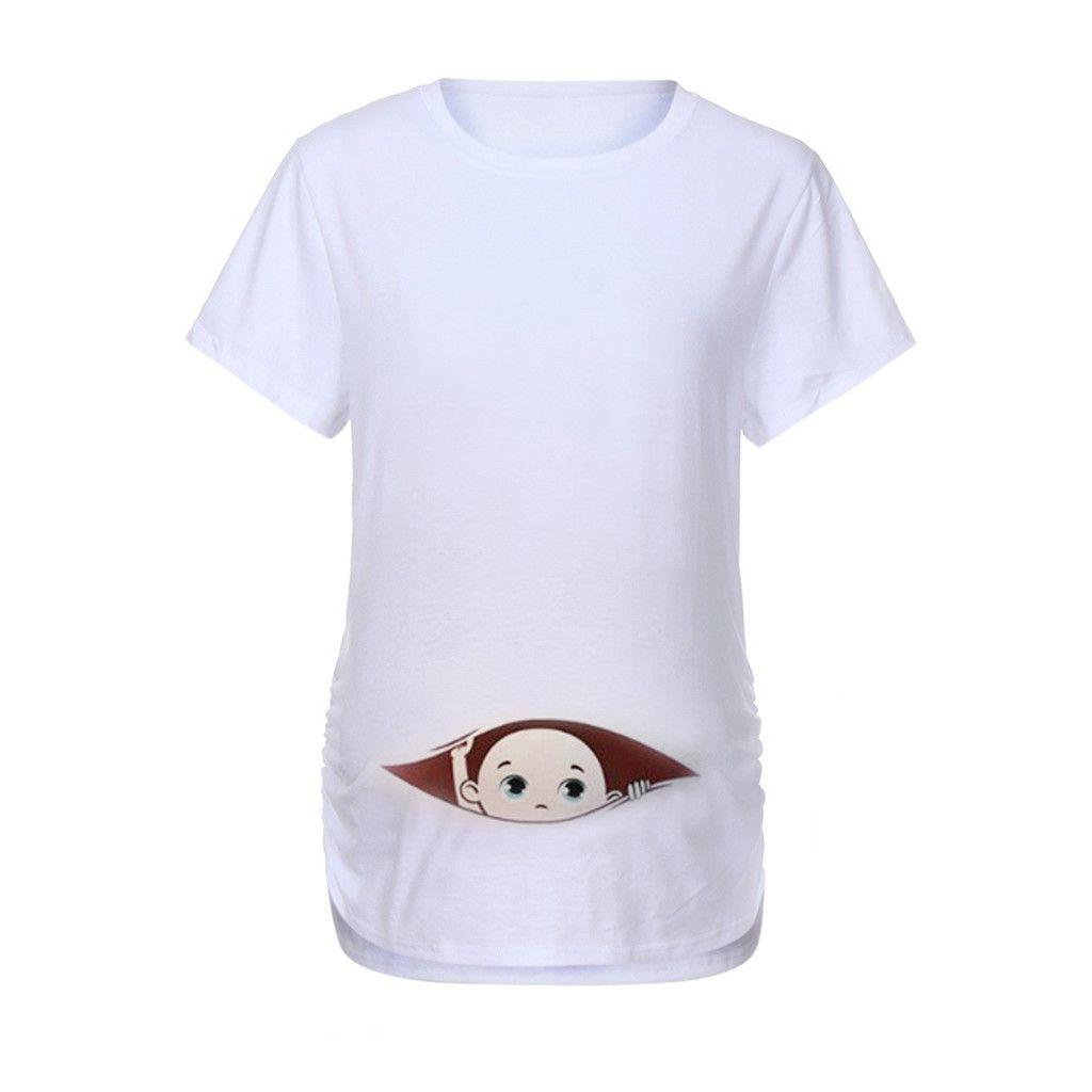 Frauen Mutterschaft Short Sleeve Cartoon Print Tops T-Shirt Schwangerschaft Kleidung für schwangere Frauen in Umstandsblusen Hot Sale