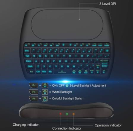 لوحة المفاتيح الخلفية D8 برو I8 الإنجليزية الروسية الأسبانية 2.4GHz اللاسلكية البسيطة الهواء ماوس لوحة اللمس بإضاءة خلفية اللون 7 لالروبوت TV BOX