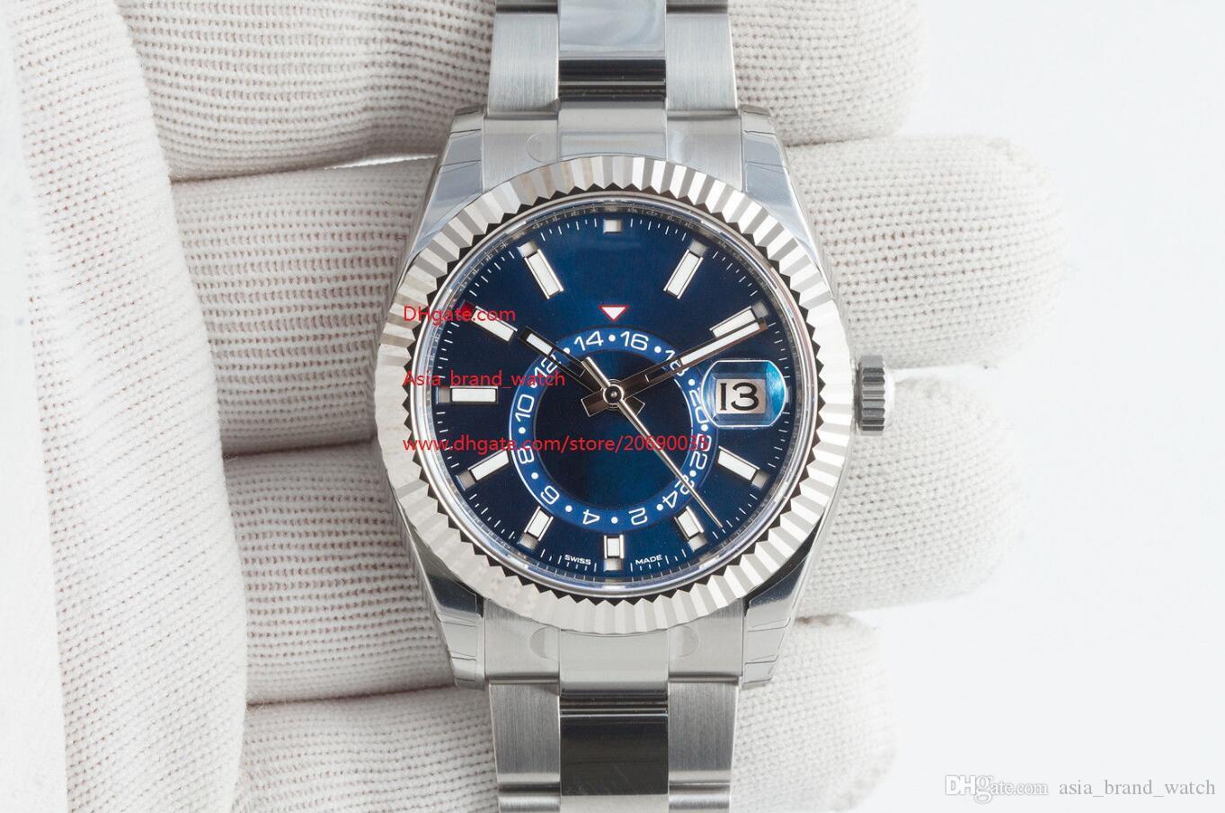 Frete grátis luxo de alta qualidade Assista 42 milímetros 326934 M326934-0003 Azul GMT aço inoxidável Workin automática Mens Watch Relógios