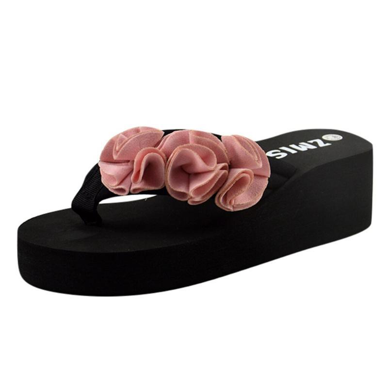 JAYCOSIN Slippers Solid Color Flip Flops Summer Fashion Women's Flower Flip Flops Non-slip Wedges Beach Slippers Summer Sandals