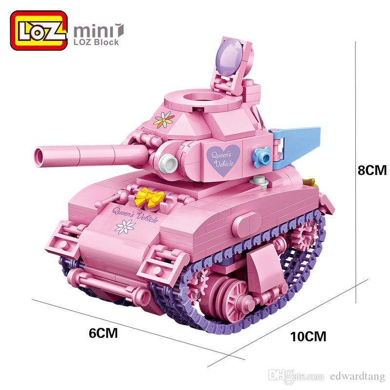 파티 아이 생일 크리스마스 선물에 대한 LOZ 미니 어린이 핑크 만화 탱크 모델, DIY 빌딩 블록, 소녀 즐겨 찾기 발달 장난감, 장식,
