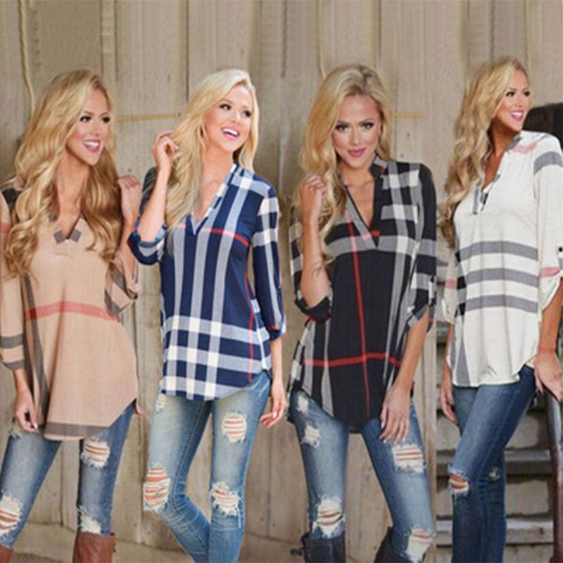 Frauen Frühling Herbst Mode Plaid Bluse T-shirt Damen Sexy V-Ausschnitt Tops T-Stück Dreiviertelhülse Casual Feminine Blusen plus Größe Kleidung
