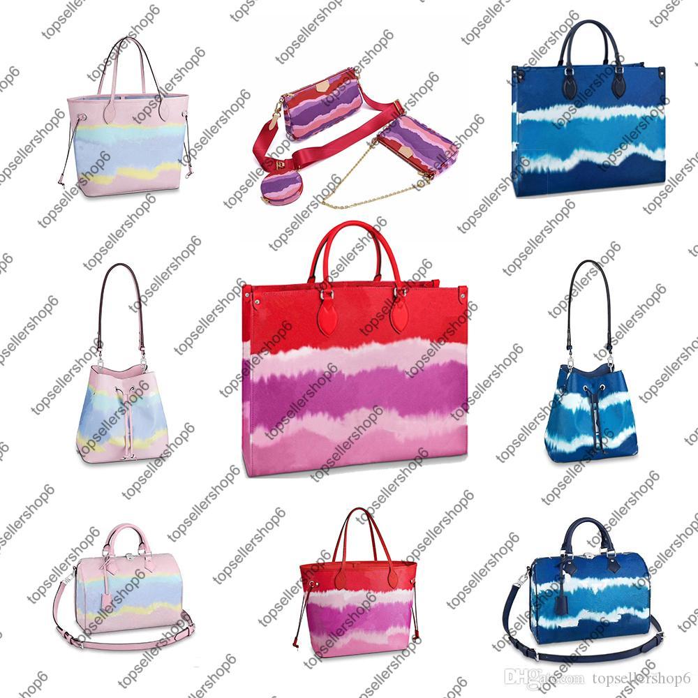 M45270 Женщины Tie Dye сумки кошелек OnTheGo GM сцепления тотализатор MM ESCALE SPEEDY Crossbody из натуральной кожи мешок вечера Покупки сумки на ремне