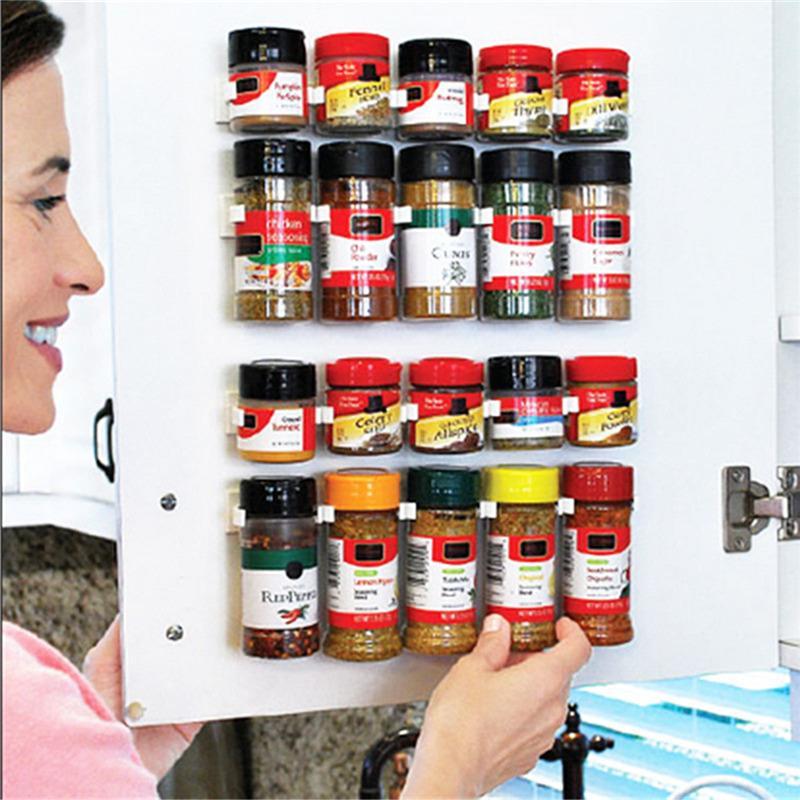 4 строки / комплект висит специи отделка стойки специи стены хранения пластиковые кухня организатор стойки двери шкафа крючки кухонные принадлежности
