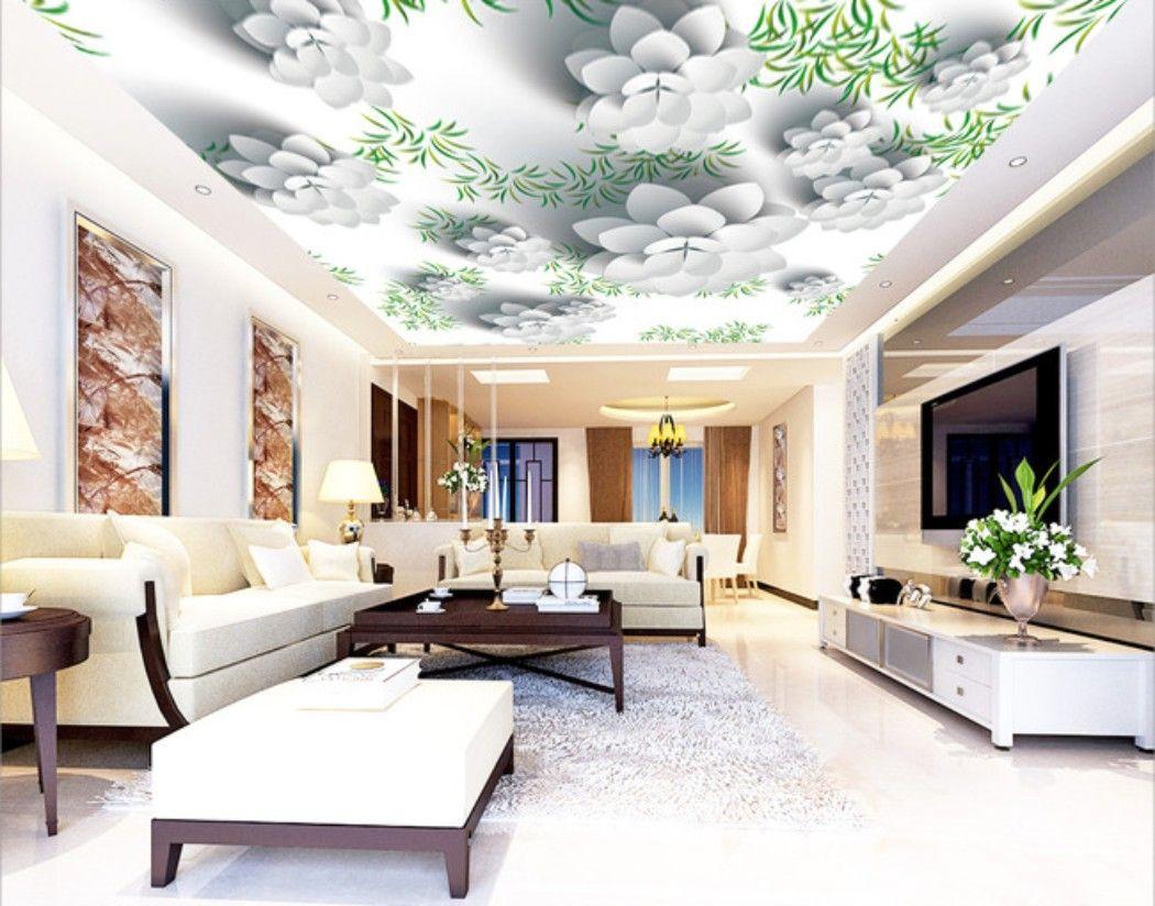 Pittura Stanza Da Letto acquista pittura su misura fiore 3d zenit murale soffitto parete moderna  disegni e modelli 3d soggiorno camera da letto soffitto wallpaper papel de