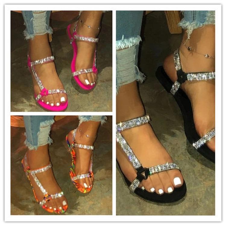 2020 Summer Beach Bling Кристл Рим дамы сандалии Rhinestone платформы клинья женщин сандалии обувь женщина обувь Гладиатор Open Toe Слайды