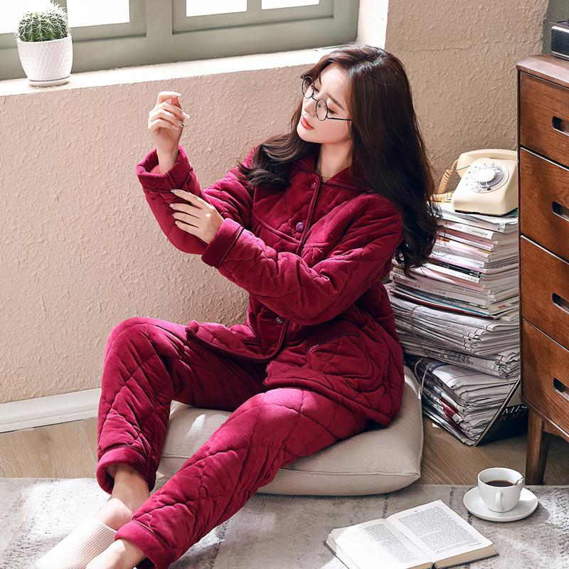 Pyjamas Frauen-Winter Flanell Quinquagenarian Vergrößern-Code Coral Lint Cotton drei Schichten Eindickung Mom Einrichtung Serve Anzug