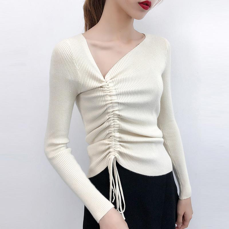 Lace Up Sweater Winter Pullovers 2019 Women's Cotton Sweater Solid Female V Neck Slim fit Long Sleeve Tops Beige Blue Black