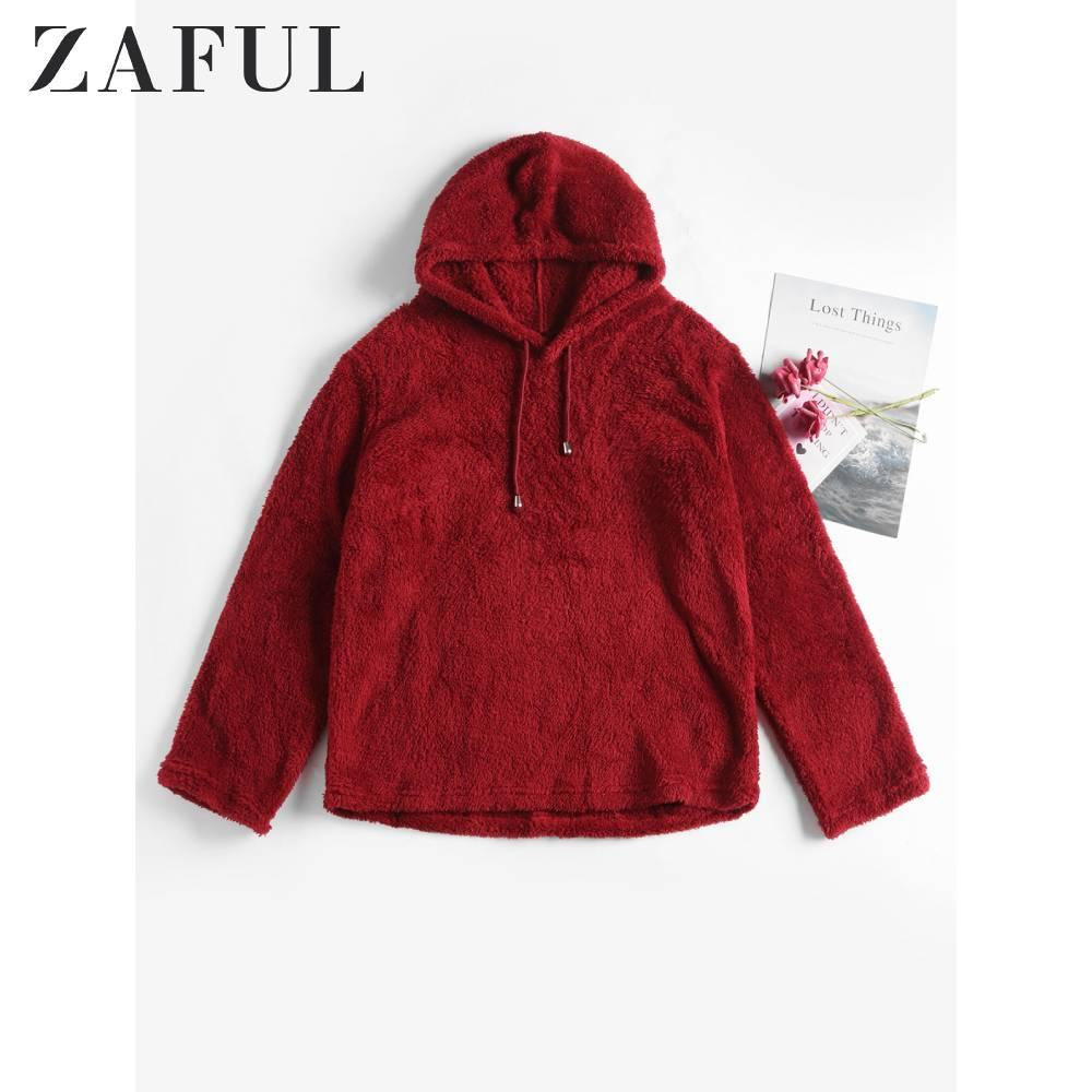ZAFUL Frauen Herbst Rotwein Kordelzug Plain Fluffy PulloverHoodie Solid Color Langarm Pullover Faux Shearling Hoodie