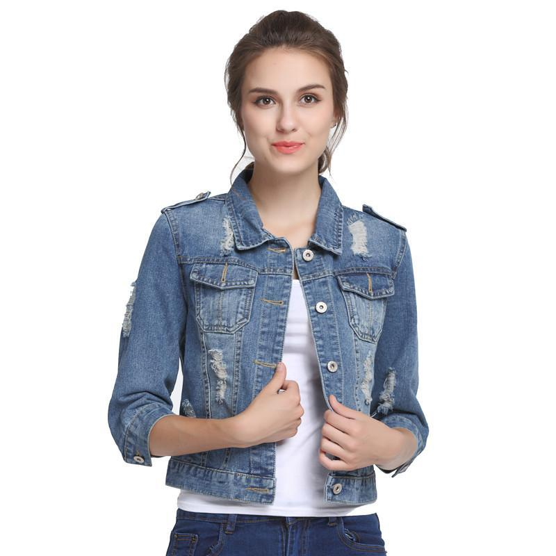 Plus Size 5XL 6XL Oversize Denim Jacket Women Spring Slim Cotton Light Washed Long Sleeve Jeans Jacket Coats Slim