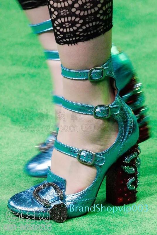 Yeni Tasarımcı Ayakkabı Kadınlar Yuvarlak Burun Ayak bileği Toka Yüksek Topuklar Python Chunky Topuk Bayanlar Yapay elmas bantlı ayakkabılar Kadın pompaları