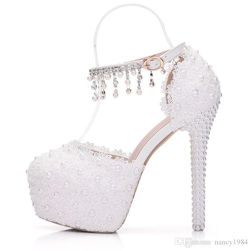 Round Toe White Lace Summer Sandals with Buckle Straps 14cm High Heel Bridal Wedding Shoes Beautiful Tassel Platforms Bridesmaid Shoes