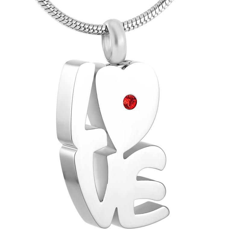 Z254 Laser Cut acier inoxydable amour tenir Rouge Cristal crémation pendentif pour les proches souvenir Memorial urne collier avec cendres