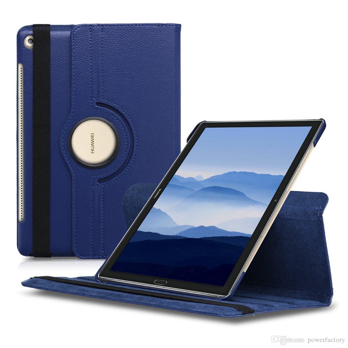 Étui en cuir rotatif à 360 degrés pour Huawei MediaPad M5 Lite 10 T5 T3 7 8 8 10 pouces Couverture PU Tablette PC Couverture PC avec Stand