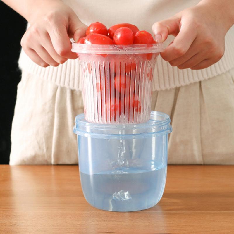 Almacenamiento de ajo caja sellada de plástico sellado de jengibre práctica transparente del tanque y cebolla de verdeo envase de la caja de almacenamiento de cocina