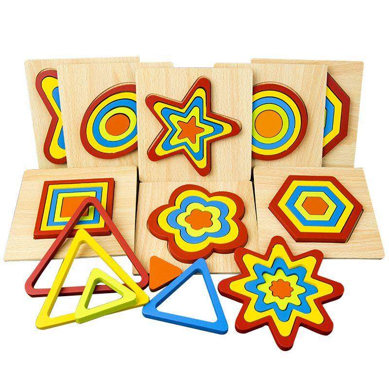 الأطفال الجدول لغز تجميع خشبي شكل نمط اللغز الهندسي 3D اللبنات لعبة رياض الأطفال لعبة هدية
