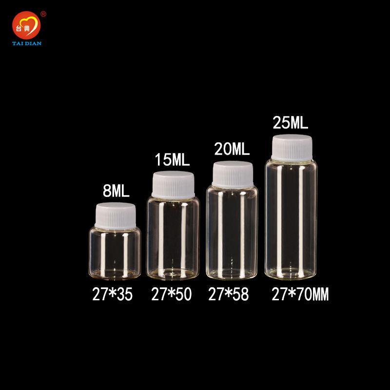 Beyaz Plastik Kapak Şeffaf Cam şişeler Plastik Kavanozları Şişeleri 8 ml 25 ml 50 adet Eh Ambalaj ile Sevimli Cam Şişeler
