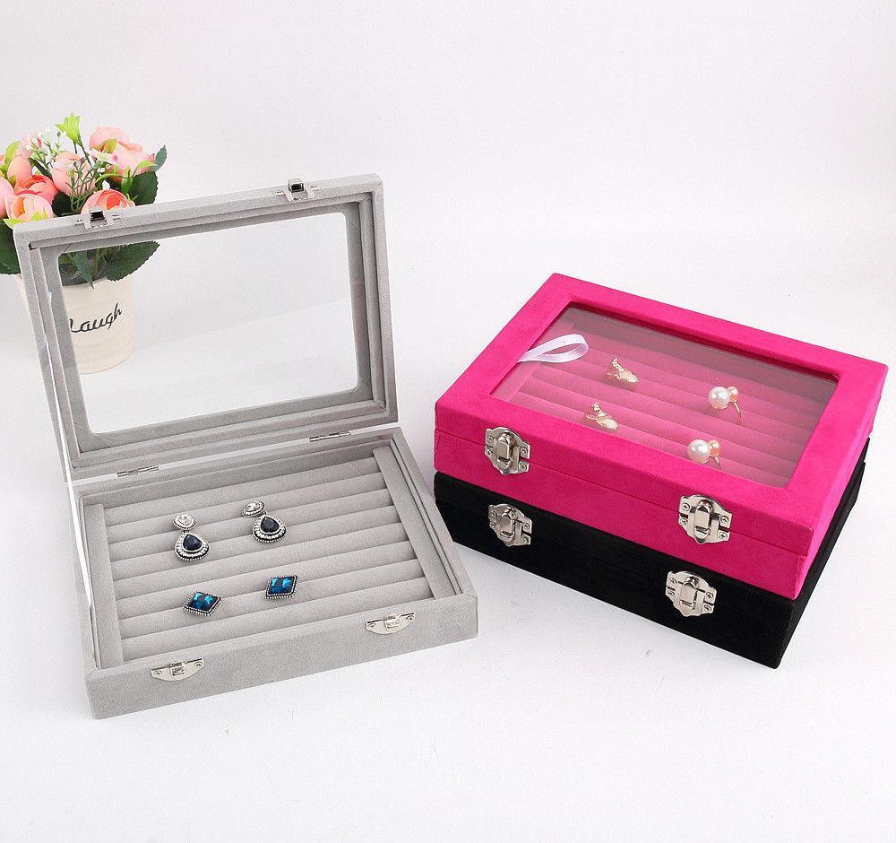 Schmuck Display Sarg / Schmuck Aufbewahrungsbox Veranstalter Ohrringe Ring Box Fall Für Jewlery Geschenkbox Schmuckschatulle Freies Verschiffen T190629