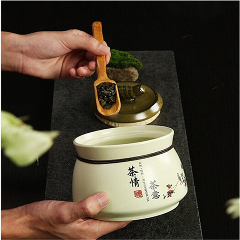 Céramique Tea Caddy thé en céramique Boîte à thé Ensembles zéro Accessoires Traîneau boîtes scellées céramique préférés 2019