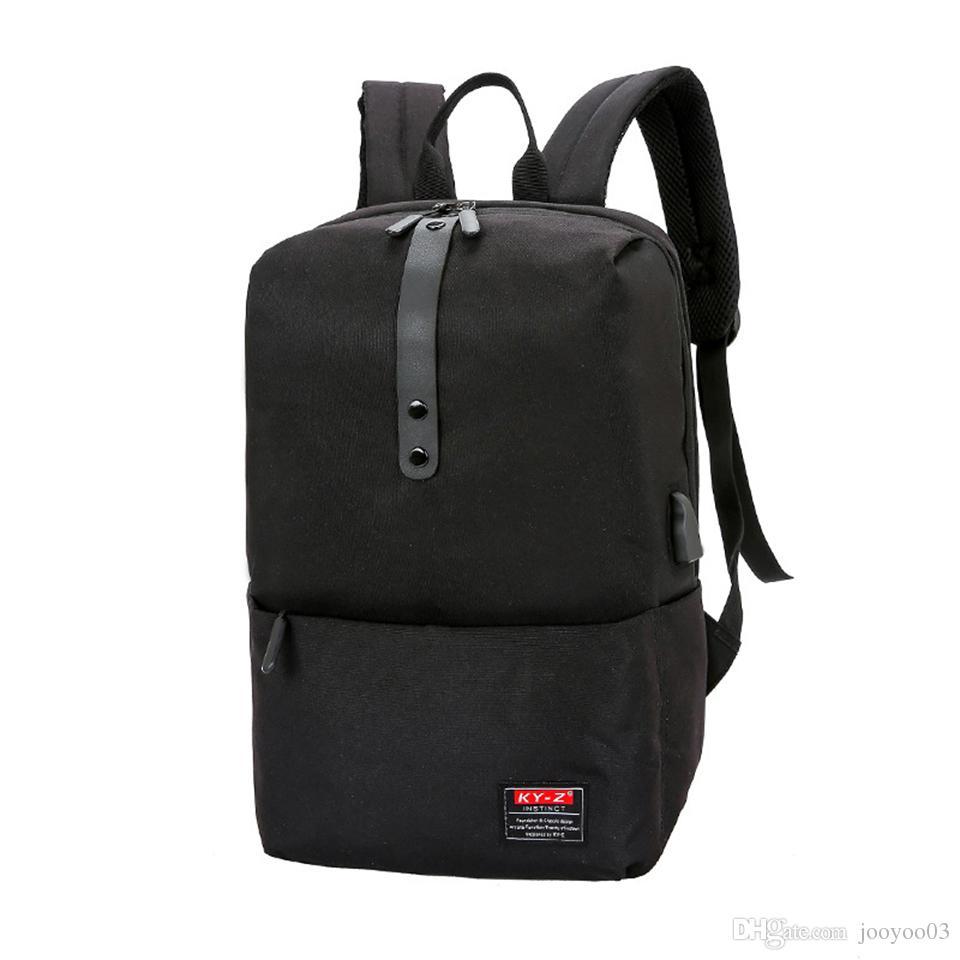 Повседневный деловой стиль Pure Color Computer Backpack Большая емкость Многофункциональный износостойкий USB Зарядка Сумки Многоцветные школьные сумки