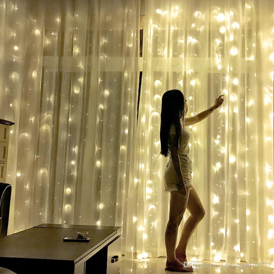 Özel LED Perde Dize Lambası Romantik Noel Düğün Açık Kapalı Dekorasyon Perde Dize Işık ABD Standart Sıcak Beyaz 110V