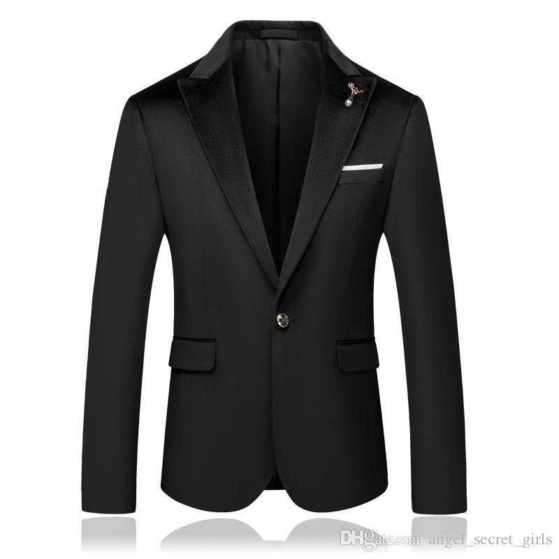 Men S Casacos Blazers prémio novos negros cavalheiro Blazers terno padrinhos de casamento dos homens se adequar Blazers moda casual botão único paletó