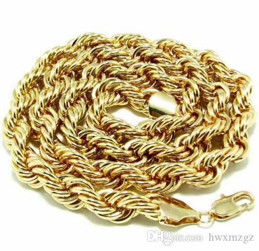 Collar de cadena de oro 18 quilates Collar de cadena de giro trenzado de metal 10 mm de grosor, 90 mm