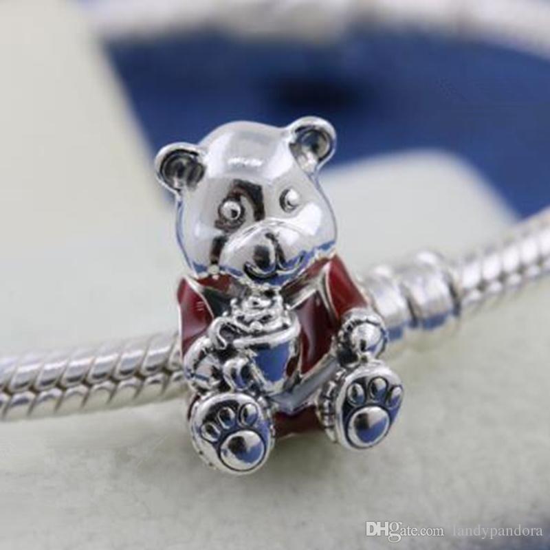 DIY свободные шарик 100% стерлингового серебра 925 Рождество плюшевый медведь Шарм подходит Европейский Pandora стиль ювелирные изделия браслеты ожерелья кулон