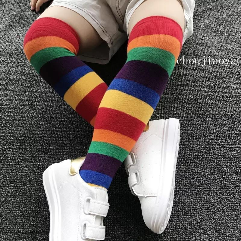 قوس قزح الشريط جوارب الأطفال لعب مستقيم الجوارب لفصلي الخريف والصيف الطفل نمط القطن الأم والطفل الجوارب الجوارب ذ