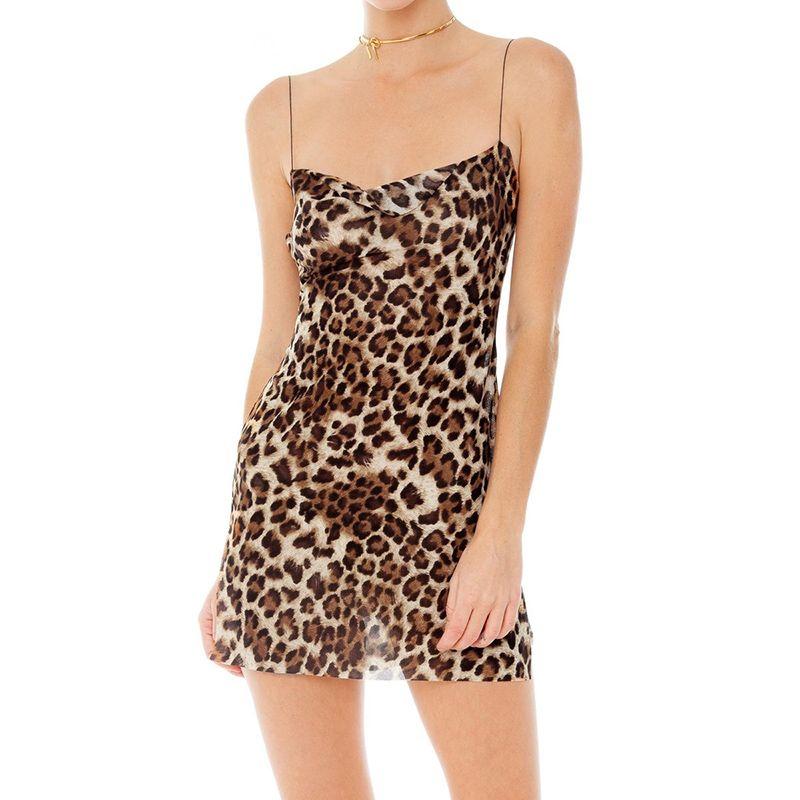 Women Sexy Slit Mesh Leopard Print Dress See Through Spaghetti Straps Mini Slip Dress Summer Christmas Party Clothes