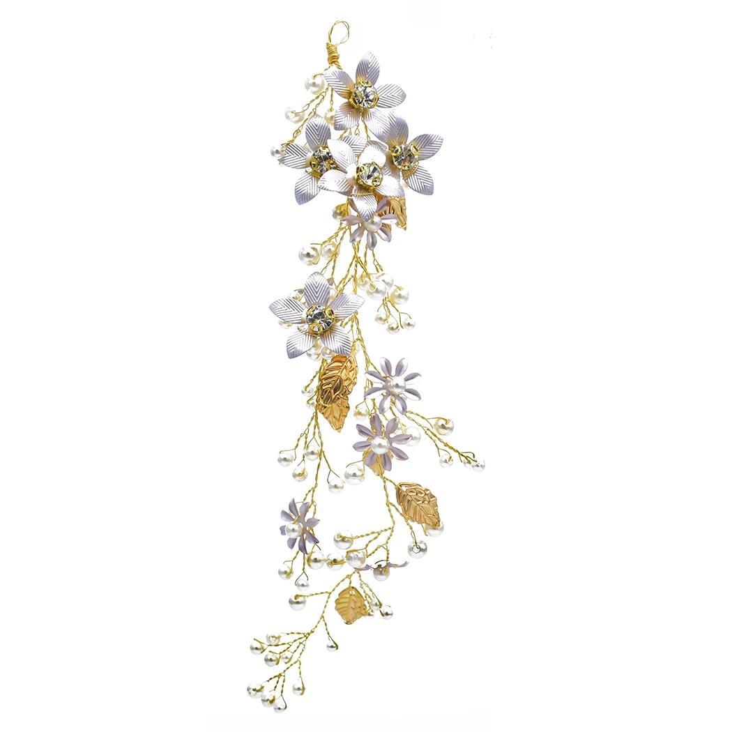 Mode Gold mit Imitation Birne Kristallblatt-Blumen-Haar-Band-Hochzeits-Kleid-Zusatz-Brauthaarschmuck