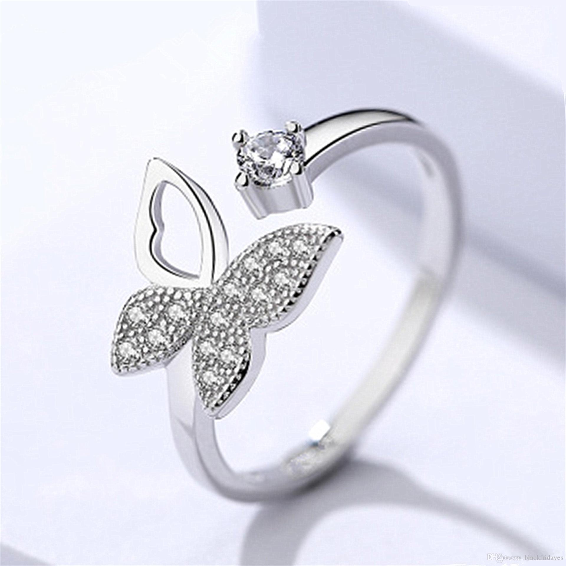 Versión coreana de la mariposa temperamento sencillo Hada de gama alta de la Mujer de apertura de oro anillo de la joyería cristalina de la manera del anillo de circón
