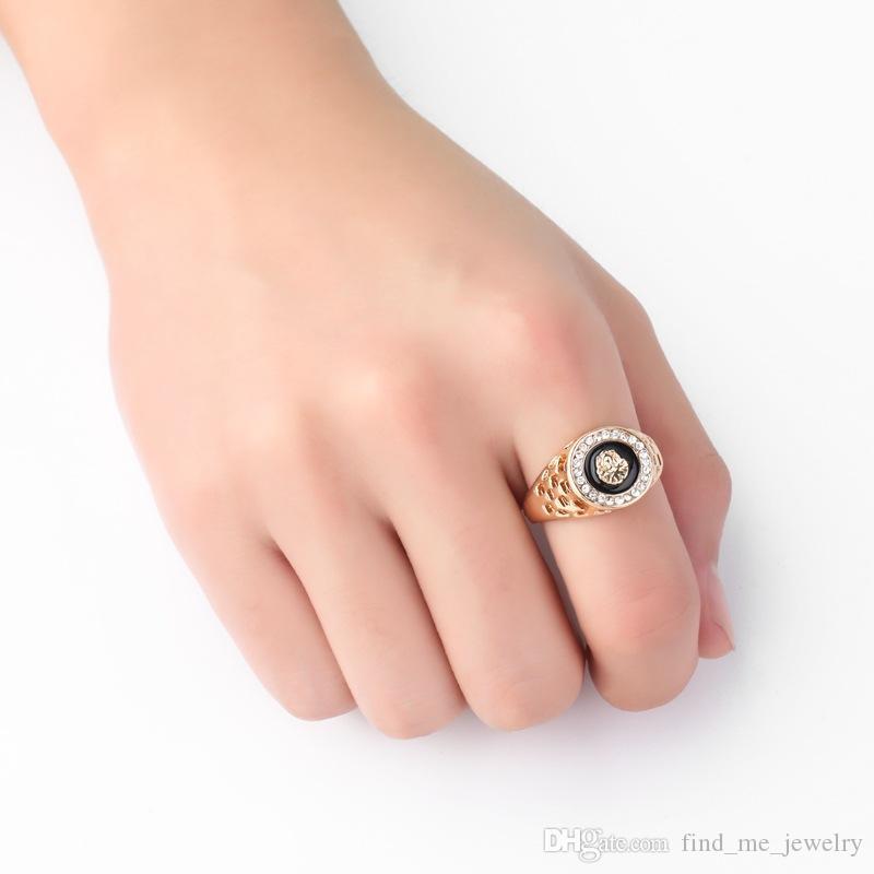 Geometrisch Geschnitzte Hohl Ring Für Männer Hip Hop Strass Ringe Mode Tropfen Öl Löwenkopf Vergoldet Legierung Schmuck Zubehör Großhandel