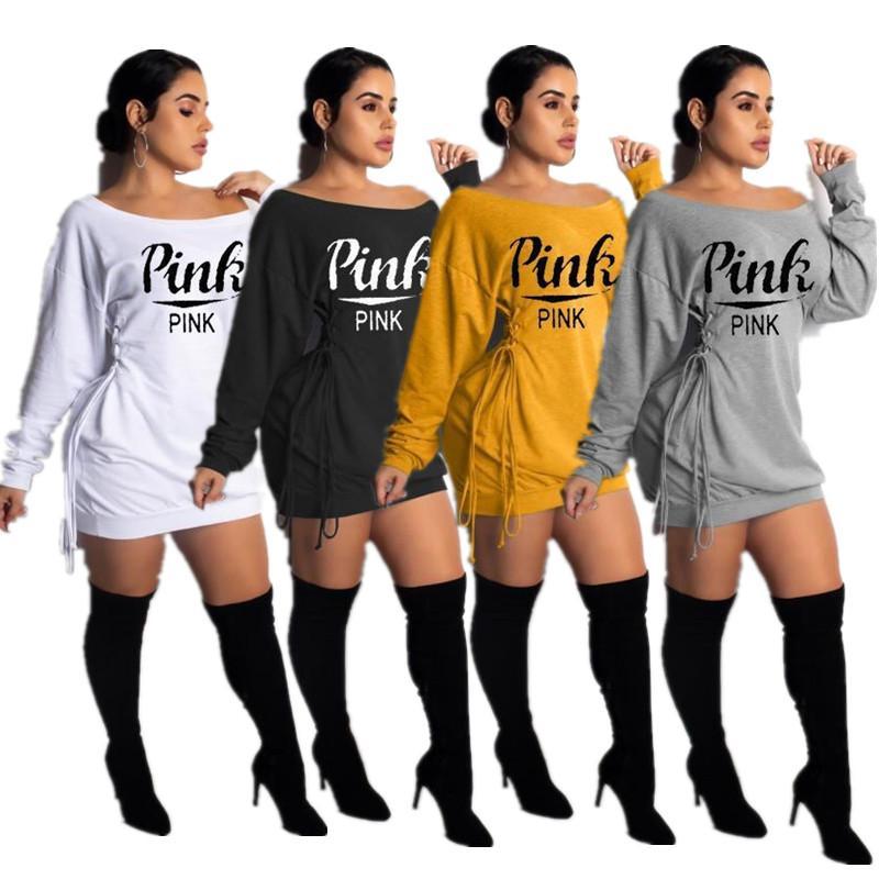 Mode féminine Robes Lettre Imprimer Lacets T-shirt Robes Off Shouler une pièce JUPE Automne desserrées Tenues populaires Vêtements Meilleur Vente