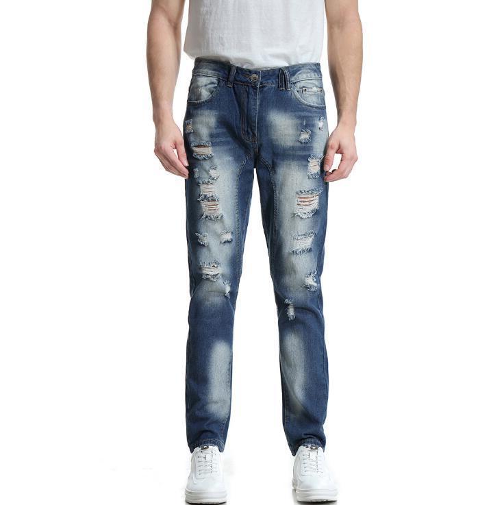 Sıcak 2020 marka yeni erkek moda erkekler iş rahat streç Ince kişilik delik kot erkek klasik pantolon Denim pantolon
