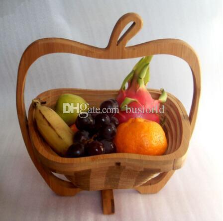 50PCS / LOT الجدة البند قابلة للطي الفاكهة سلة الخيزران تخزين المنزل الشحن المجاني الجملة