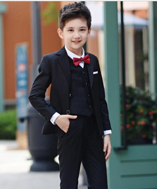Ragazzi vestito per il matrimonio bambini Prom Suit bambini smoking di cerimonia nuziale su ordine di abbigliamento Set Boy 3pcs formali (jacket + pants + vest)